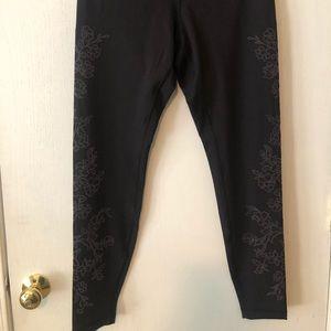 Lululemon black leggings with velvet detail